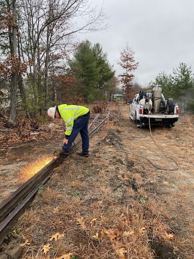 Cutting of steel rails